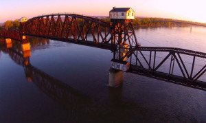 The MKT Railroad Bridge over the Missouri River at Boonville.  (photo courtesy; KatyBridgeFriends.org)