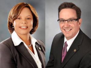 Senators Jamilah Nasheed and Kurt Schaefer