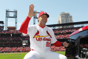 St. Louis Cardinals manager Mike Matheny waves to the fans duirng Opening Day ceremonies before a game against the Milwaukee Brewers at Busch Stadium in St. Louis on April 11, 2016.   Photo by Bill Greenblatt/UPI