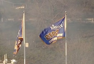 The 2015 World Series banner (right) stands next to the Royals' first banner from 1985