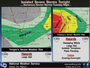 This graphic from the National Weather Service shows the severe weather possibilities through Tuesday evening.