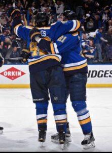 David Backes celebrates his game winning goal (photo/NHL.com)