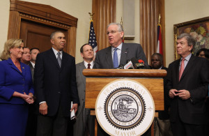 Missouri Governor Jay Nixon makes his remarks regarding the announcement that the National Geospatial-Intelligence Agency (NGA) plans to stay in St. Louis and build a new North St. Louis City site for $1.6 billion it was announced in St. Louis on April 1, 2016. Standing with Nixon are (L to R) Congresswoman Ann Wagner (R-St. Louis), Congressman William (Lacy) Clay (D-St. Louis), St. Louis Mayor Francis Slay and U.S. Senator Roy Blunt (R-MO). The State of Illinois had also propsed a site at Scott Air Force Base for the facility.  Photo by Bill Greenblatt/UPI