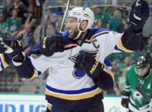 David Backes celebrates his game winner (photo/NHL.com)