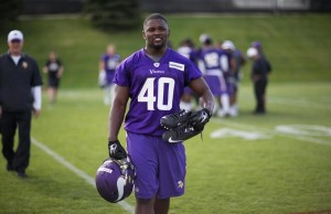 Kentrell Brothers walks off the field after his first day of rookie minicamp (photo/Vikings.com)
