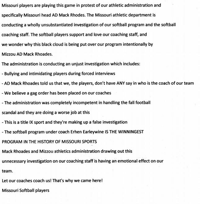 Mizzou letter