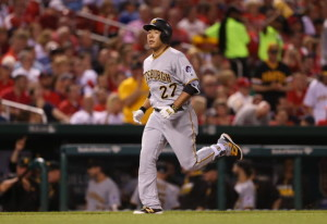 Pittsburgh Pirates Kung Ho Kang runs towards home plate after hitting a two run home run in the sixth inning against the St. Louis Cardinals at Busch Stadium in St. Louis on May 6, 2016.   Photo by Bill Greenblatt/UPI