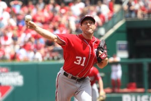 Max Scherzer delivers a pitch. (photo/Bill Greenblatt, UPI)