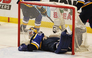 St. Louis Blues goaltender Brian Elliott ends up in his own goal unable to reach the puck off the stick of Dallas Stars Vernon Fiddler in the first period of Game Six of the NHL Playoffs at the Scottrade Center in St. Louis on May 9, 2016. Dallas scored three times in the first period and Elliott was replaced.  Photo by Bill Greenblatt/UPI