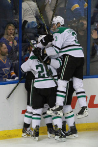 Dallas Stars celebrate Cody Eakin winning goal against the St. Louis Blues in the overtime at the Scottrade Center in St. Louis on May 5, 2016. UPI/Robert Cornforth