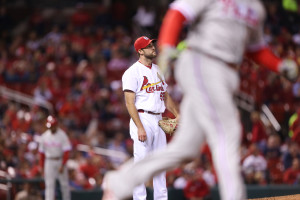 St. Louis Cardinals starting pitcher Michael Wacha watches Philadelphia Phillies Ryan Howard's solo home run leave the park in the sixth inning at Busch Stadium in St. Louis on May 3, 2016.    Photo by Bill Greenblatt/UPI