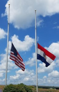Flags flying at half-staff