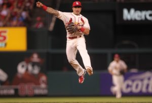St. Louis Cardinals second baseman Kolton Wong makes a throw to first base to get San Francisco Giants Brandon Belt to end the eighth inning at Busch Stadium in St. Louis on June 4, 2016. St. Louis won the game 7-4. Photo by Bill Greenblatt/UPI