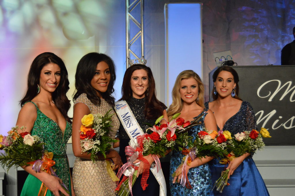 The court announced Saturday night in Mexico includes 3rd runner up Miss Gateway St. Louis, Brittney Sears; 1st runner up Miss Audrain, Jennifer Davis; Miss Missouri Erin O'Flaherty; 2nd runner up Miss Metro St. Louis, Katie Moeller; 4th runner up Miss Northwest, Mikaela Carson.
