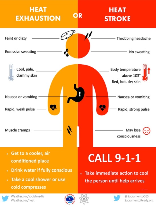 This graphic from the National Weather Service illustrates what symptoms people might have if being overcome by hot and humid conditions.