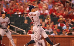 Houston Astros George Springer swings hitting a two run home run in the eighth inning against the St. Louis Cardinals at Busch Stadium in St. Louis on June 15, 2016.    Photo by Bill Greenblatt/UPI