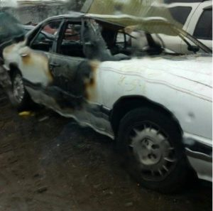This white 1993 4-door Buick LeSabre is believed to have been used in the Dunbar Armored truck robbery April 4, 2016. It was set on fire the morning after the robbery.