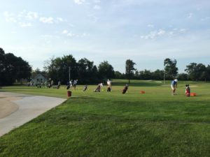 Golfers warm up at the range prior to the second round of stroke play at Jefferson City Country Club (photo/Missouri Golf Association)