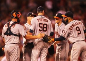 Houston Astros starting pitcher Doug Fister is congratulated by teammates as he leaves the game in the eighth inning against the St. Louis Cardinals at Busch Stadium in St. Louis on June 14, 2016. Houston defeated St. Louis 5-2.    Photo by Bill Greenblatt/UPI