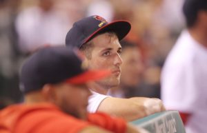 St. Louis Cardinals starting pitcher Mike Mayers remains in the dugout in the sixth inning, watching a game against the Los Angeles Dodgers at Busch Stadium in St. Louis on July 24, 2016. Mayers gave up nine runs in two innings of work in his major league debut. Photo by Bill Greenblatt/UPI