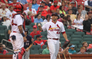 St. Louis Cardinals Trevor Rosenthal throws the baseball in to catcher Yadier Molina aftet a Milwaukee Brewers run scored in the seventh inning at Busch Stadium in St. Louis on July 3, 2016. St. Louis won the game 9=8.  Photo by Bill Greenblatt/UPI
