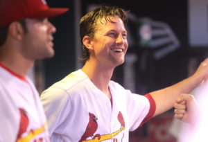 St. Louis Cardinals starting pitcher Mike Leake laughs with teammates in the dugout after coming out of the game in the sixth inning against the San Diego Padres at Busch Stadium in St. Louis on July 18, 2016.Leake gave up six hits and one run.    Photo by Bill Greenblatt/UPI