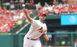 St. Louis Cardinals starting pitcher Adam Wainwright delivers a pitch to the Pittsburgh Pirates in the third inning at Busch Stadium in St. Louis on July 7, 2016.  Photo by Bill Greenblatt/UPI
