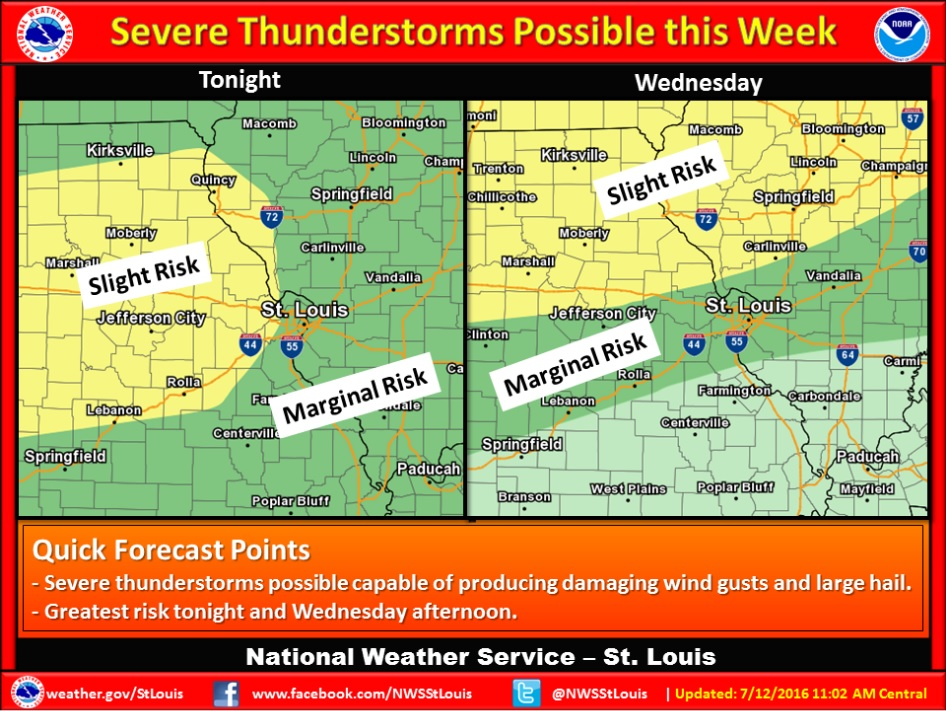 This graphic from the National Weather Service shows the projected severe weather risk for Tuesday evening and Wednesday.