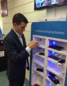 Wiggins using new device for RNC conventions, large scale charging station.