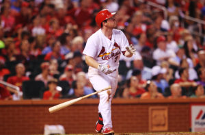 St. Louis Cardinals Jedd Gyorko watches a two run home run leave the park in the fifth inning inning of game two of a double header against the San Diego Padres at Busch Stadium in St. Louis on July 20, 2016.   Photo by Bill Greenblatt/UPI