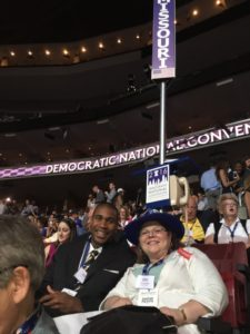 Clinton delegate Martin Rucker (left) and State Rep. Gina Mitten