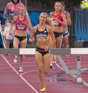 Courtney Frerichs (back left), passes Colleen Quigley (back right) as they chase Emma Coburn. All three are U.S. Olympians (NBCSN screen shot)
