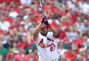 St. Louis Cardinals Jhonny Perlata swings his bat in disgust as he flys out in the third inning against the Atlanta Braves at Busch Stadium in St. Louis on August 7, 2016. Atlanta won the game 6-3.    Photo by Bill Greenblatt/UPI