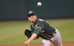 Oakland Athletics starting pitcher Ross Detwiler delivers a pitch to the St. Louis Cardinals in the second inning at Busch Stadium in St. Louis on August 26, 2016. Photo by Bill Greenblatt/UPI