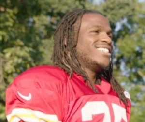 Jamaal Charles is all smiles as he returns to the practice video (Chiefs/video screen shot)