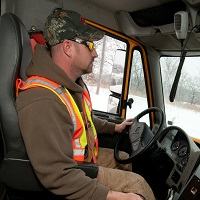 MoDOT snow plow operator- Photo courtesy of Missouri Dept. of Transportation