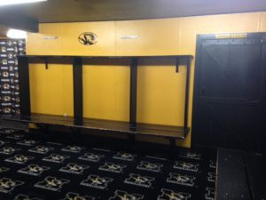 Mizzou hockey's dressing room suffered soaked carpet (photo/Bill Pollock)