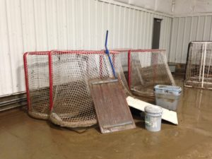 Hockey gear and ice show props were damaged by the flooding (photo/Bill Pollock)