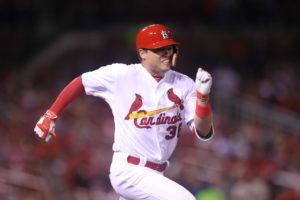 St. Louis Cardinals Aledmys Diaz runs to first base as he grounds out to third base in the sixth inning against the Cincinnati Reds at Busch Stadium in St. Louis on September 27, 2016. Photo by Bill Greenblatt/UPI