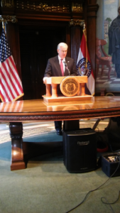 Governor Jay Nixon addresses the Capitol Press Corps on September 7, 2016