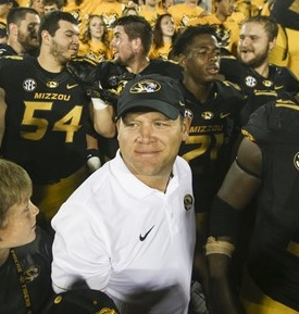 Barry Odom celebrates his first win at Mizzou (photo/Mizzou Athletics)