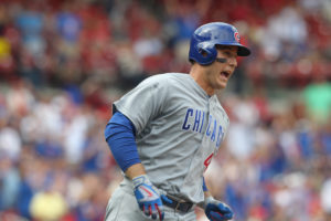 Chicago Cubs Anthony Rizzo yells out as he runs towards first base after hitting a two run home run in the ninth inning against the St. Louis Cardinals at Busch Stadium in St. Louis on September 14, 2016. Chicago defeated St. Louis 7-0.  Photo by Bill Greenblatt/UPI
