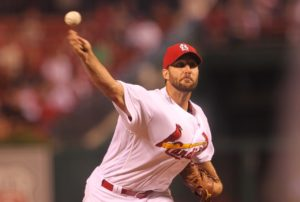 St. Louis Cardinals starting pitcher Adam Wainwright delivers a pitch to the Cincinnati Reds in the second inning at Busch Stadium in St. Louis on September 27, 2016. Photo by Bill Greenblatt/UPI