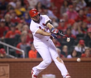 St. Louis Cardinals Johnny Peralta breaks his bat during the eighth inning against the Cincinnati Reds at Busch Stadium in St. Louis on September 28, 2016. Cincinnati defeated St. Louis 2-1. Photo by Bill Greenblatt/UPI