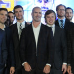 Former St. Louis Blues Barret Jackman (C) stands with current and former members of the team after announcing his retirement at the Scottrade Center in St. Louis on October 4, 2016. Jackman played 14 years in the NHL, 13 of those years as a St. Louis Blue and last year as a member of the Nashville Predators. Drafted in the 1999 draft, Jackman played in over 800 games as a Blue.   Photo by Bill Greenblatt/UPI