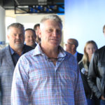Former St. Louis Blues players (L to R) Kelly Chase, Brett Hull and Wayne Gretsky arrive for the Barret Jackman retirement announcement at the Scottrade Center in St. Louis on October 4, 2016. Jackman played 14 years in the NHL, 13 of those years as a St. Louis Blue and last year as a member of the Nashville Predators. Drafted in the 1999 draft, Jackman played in over 800 games as a Blue.   Photo by Bill Greenblatt/UPI