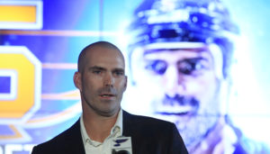 An emotional Barret Jackman makes his remarks after signing a one-day contract so he may retire as a St. Louis Blue at the Scottrade Center in St. Louis on October 4, 2016. Jackman played 14 years in the NHL, 13 of those years as a St. Louis Blue and last year as a member of the Nashville Predators. Drafted in the 1999 draft, Jackman played in over 800 games as a Blue.   Photo by Bill Greenblatt/UPI