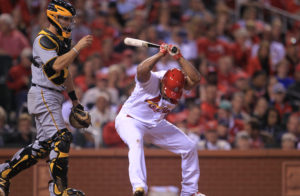 St. Louis Cardinals starting pitcher Carlos Martinez slams his bat to the ground after striking out against the  Pittsburgh Pirates in the fifth inning at Busch Stadium in St. Louis on September 30, 2016. St. Louis won the game 7-0.  Photo by Bill Greenblatt/UPI
