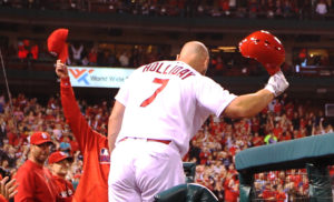 St. Louis Cardinals Matt Holliday tips his helmet to the crowd after hitting a solo home run in the seventh inning against the Pittsburgh Pirates at Busch Stadium in St. Louis on September 30, 2016. Photo by Bill Greenblatt/UPI