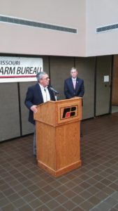 Missouri Farm Bureau President Blake Hurst (left) and U.S. Rep. Blaine Luetkemeyer spoke at Farm Bureau headquarters in Jefferson City on October 24, 2016